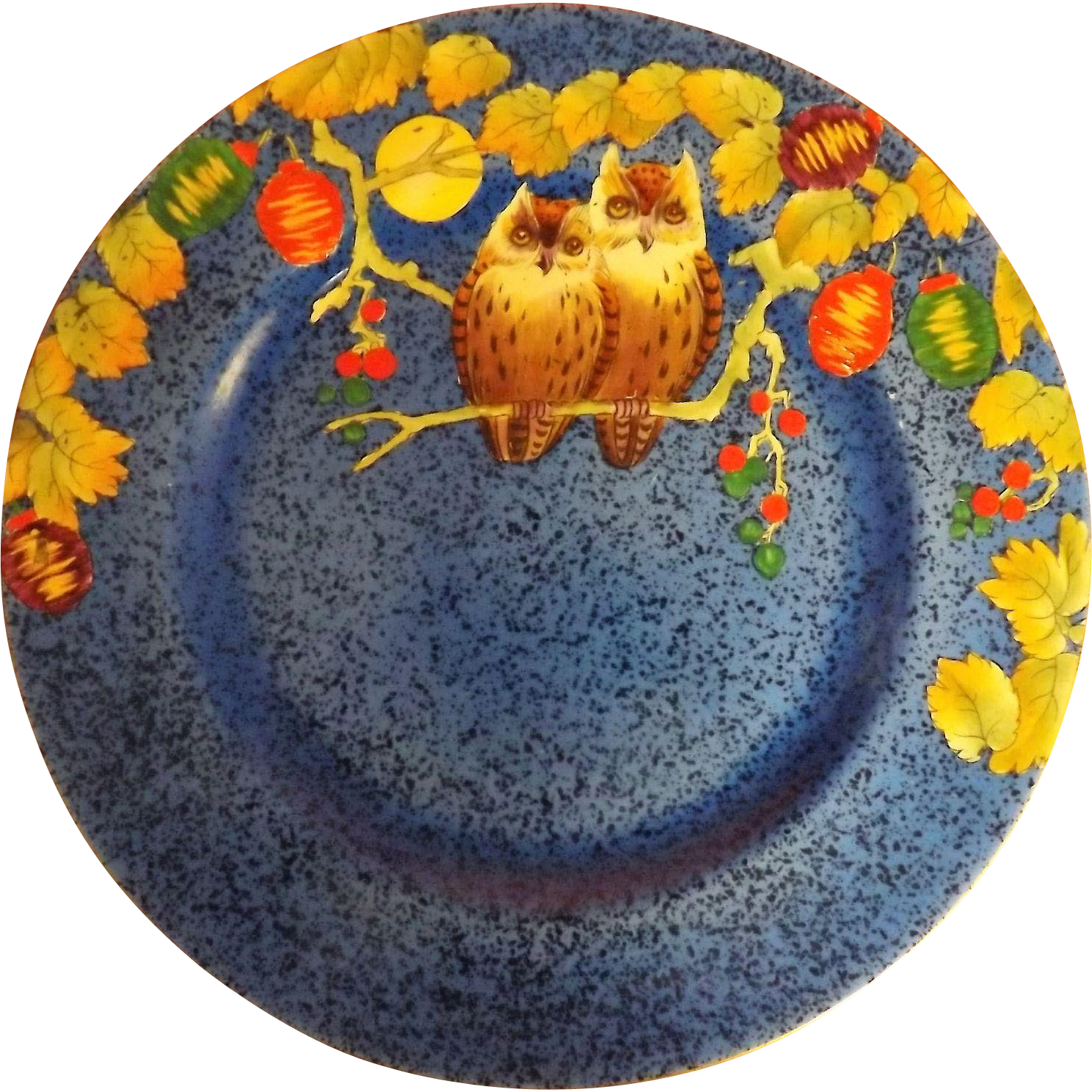 "Royal Winton 1930's Art Deco Hand Painted Cabinet Plate ""OWLS"""