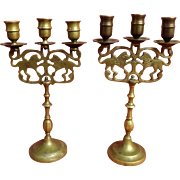 A Pair of Russian 19th Century Jewish Shabbat Candle Sticks