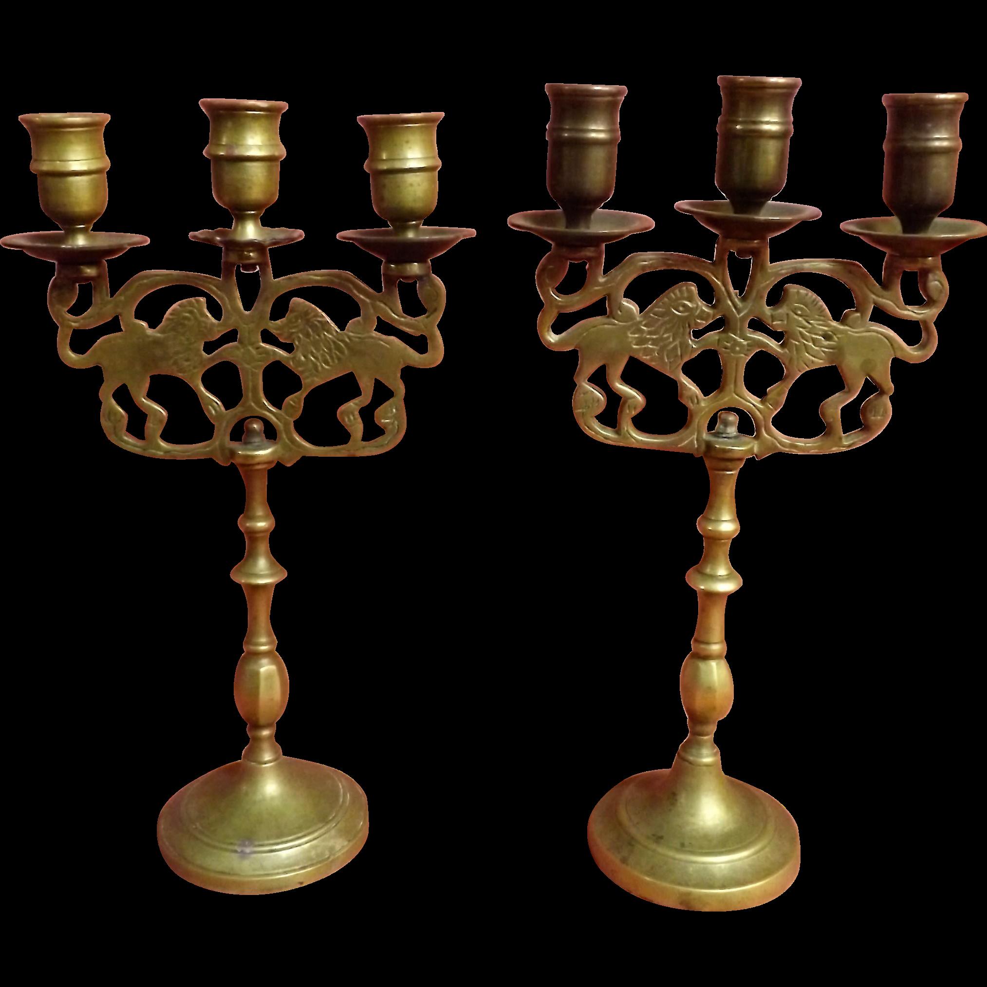 A Pair of Russian 19th Century Jewish Shabbat Candle Sticks