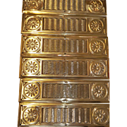 A Set of Six Magnificent Victorian Door Push Plates In Pressed Brass  -  Circa 1893