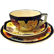 "Royal Doulton ""Pansies Series"" Deco Trio"