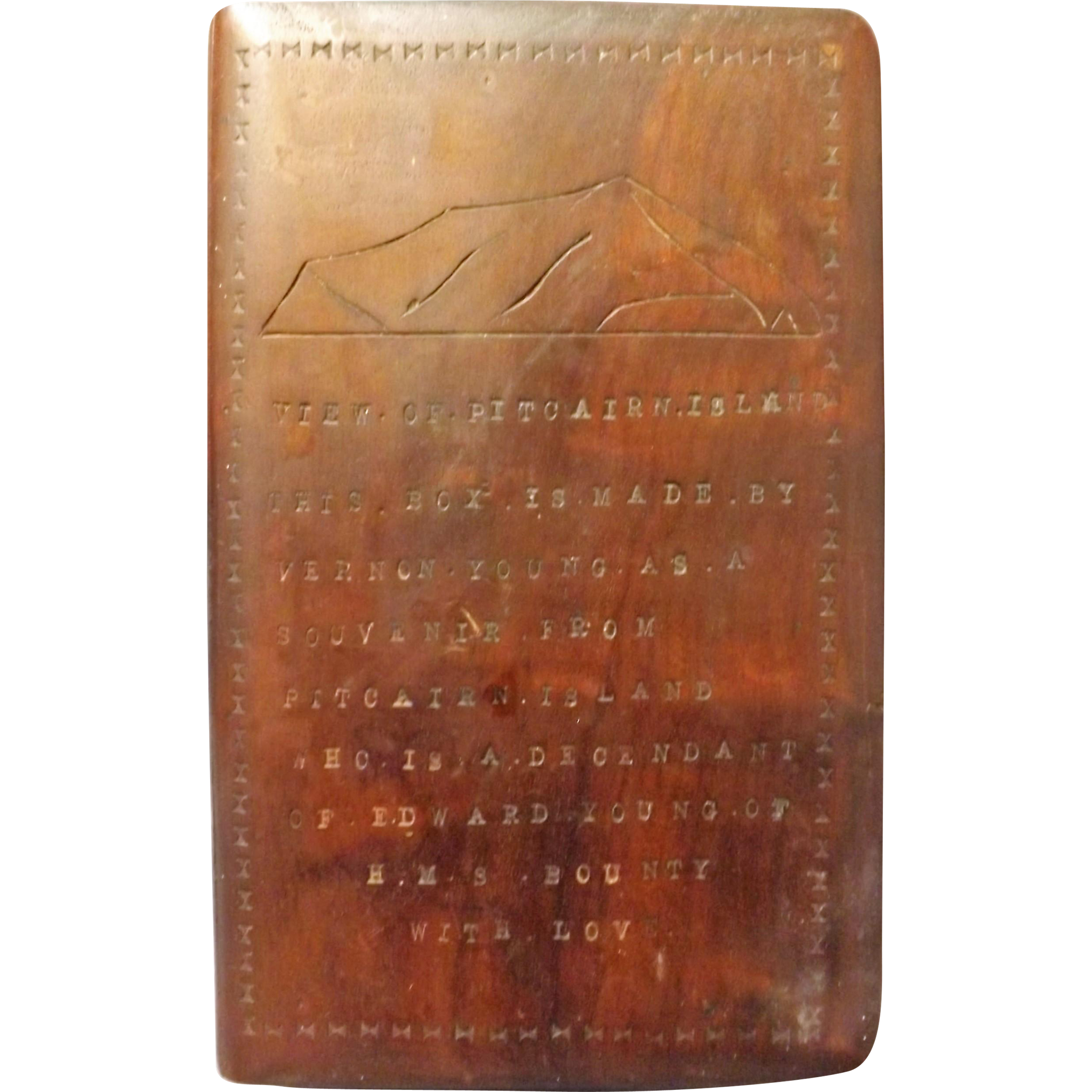 Pitcairn Island Hand Made Wooden Souvenir Box -Circa 1940's