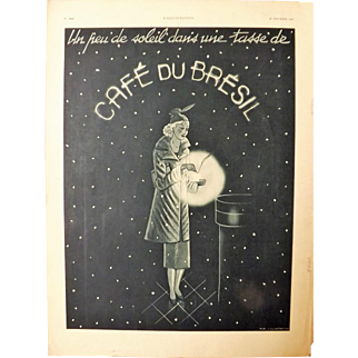 L'IIlustration French Magazine Original Cafe Du Bresil 1937 Advertisement