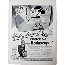 L'IIlustration French Magazine Original  KODASCCOPE Mickey Mouse 1937 Advertisement