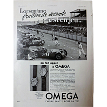 L'IIlustration French Magazine Original  OMEGA Motor Racing 1937 Advertisement
