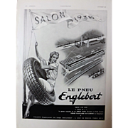 L'IIlustration French Magazine Original  ENGLEBERT TYRES 1937 Advertisement