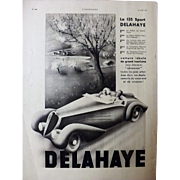 L'IIlustration French Magazine Original  DELAHAYE 135 SPORT 1937 Advertisement
