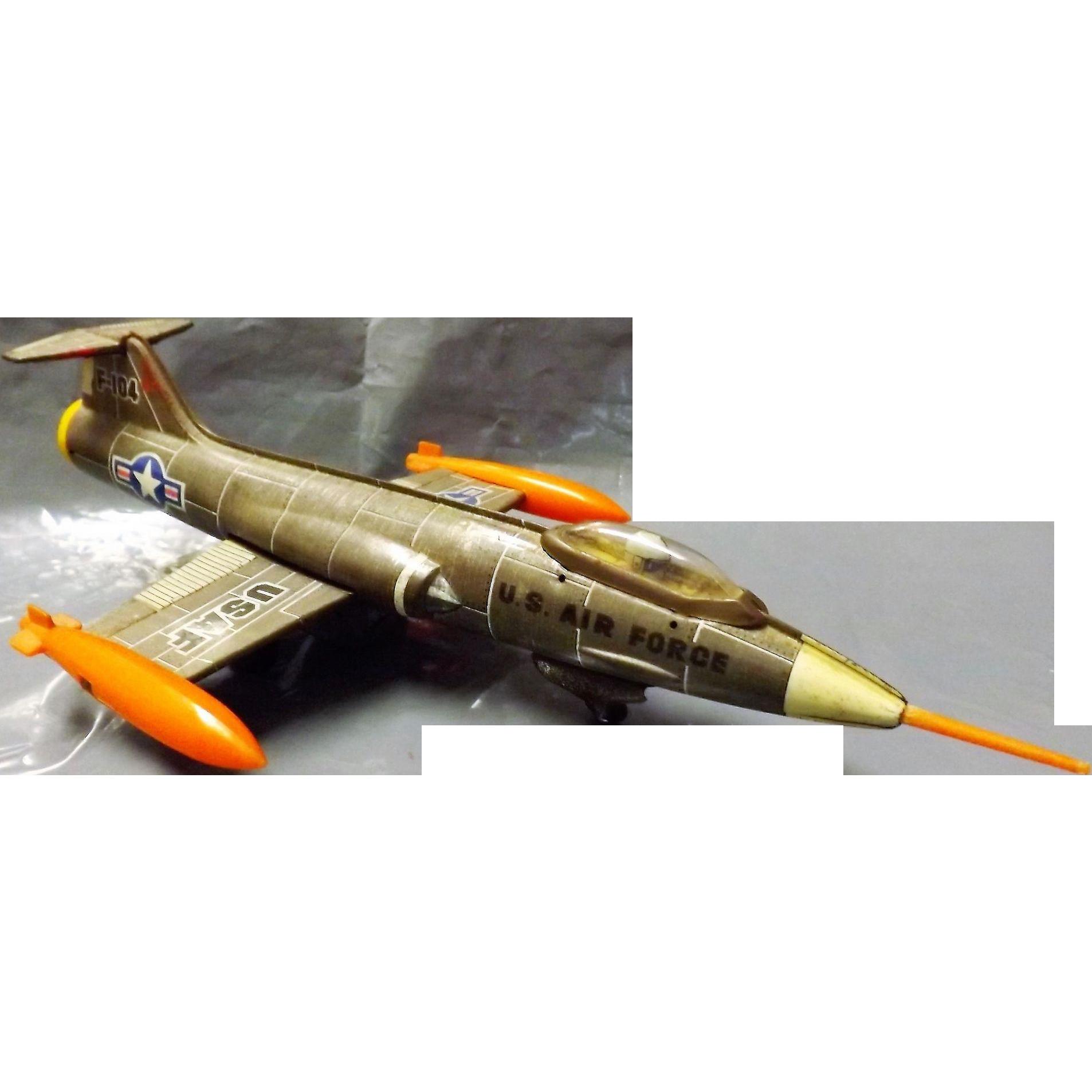 Rare Aoshin Shoten USAF  F-104 STARFIGHTER Friction Tin Toy Plane
