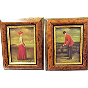 A Lovely Old Pair of Golfing Paintings - Oil on Canvas - Circa 1900-1915