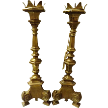 English Victorian Period 'GOTHIC REVIVAL'  Pair of Candle Sticks