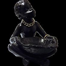 Black Native Girl Ornamental Ashtray - Circa 1960 's