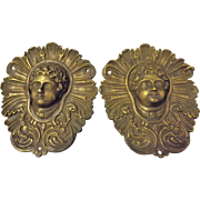 A Pair of 19th Century French Bronze Decorative Heads / Escutcheons