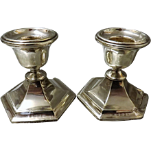 A Small Pair of Sterling Silver Candle Sticks Hallmarked 1914