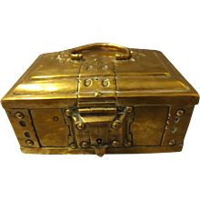 Old Brass Trinket Box - circa 1890-1910 England