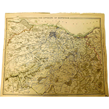 """Original Map of The Environs of EDINBURGH Circa 1835 Published By """"The Society for the Diffusion of Useful Knowledge"""""""