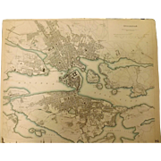 "An Original Atlas Map of  STOCKHOLM Circa 1836 Published By ""The Society For The Diffusion of Useful Knowledge"""