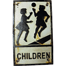 Genuine English Mid Century Cast Iron School Crossing Sign