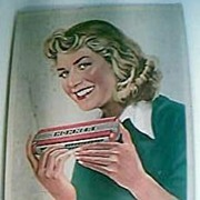 Genuine 1940's-50's HOHNER Mouth Organ Advertising Display Card