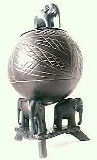 Vintage Coconut Elephant Tobacco Barrel Circa 1930's-40's