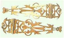 Vintage Art Nouveau Brass Hinges Circa LATE 1800's - Early 1900's