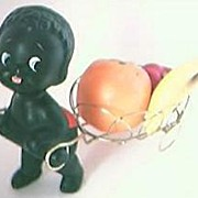 Vintage 1960's Era Porcelain Little Black Boy & Fruit  Cart