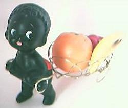 Vintage 1960's Era Porcelain Little Black Boy & Fruit  Cart