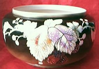 Victorian Hand Painted & Embossed Porcelain Jardiniere