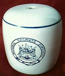 Zimbabwe National Railways Souvenir Porcelain Salt Pot.