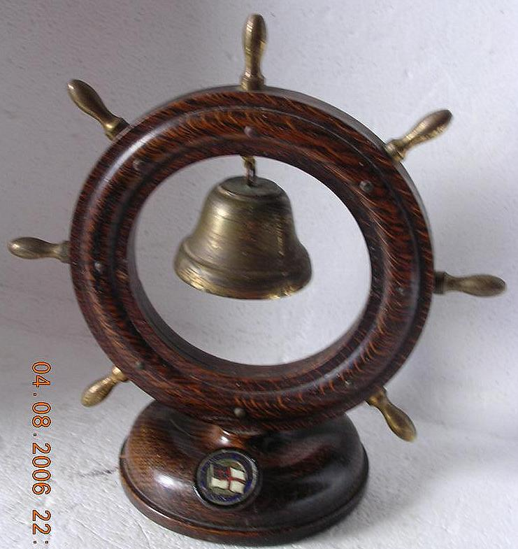 Vintage Dominion Monarch Ships Wheel & Bell Shipping Souvenir