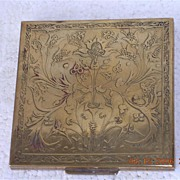 Vintage  English Art Nouveau Brass Powder Compact