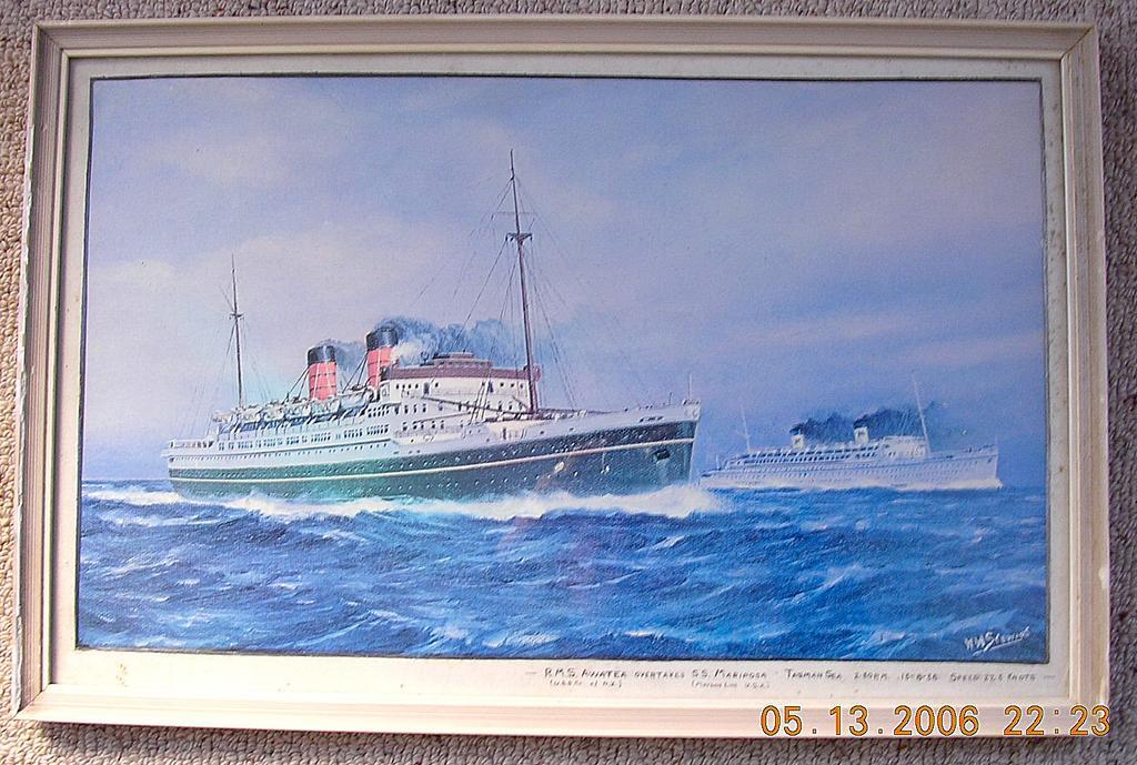 Vintage Shipping Print RMS Awatea & SS Mariposa 1938