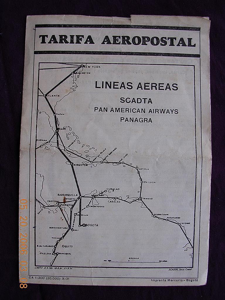 Rare1931 PAN AM ( Lineas Aereas Panagra)  Venezuelan Aero Postal Charge Pamphlet