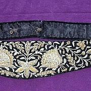 Gorgeous Arts & Crafts Ladies Evening Wear Belt in Velvet with Intricate Silver & Gold Wire Braid worn