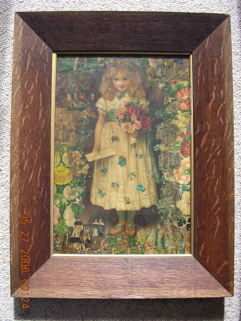 Rare Large & Beautiful Victorian Print Montage in Oak Frame