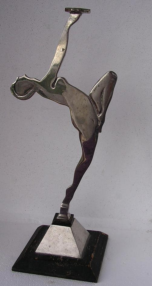 Stunning Original Tall Art Deco Nude Chrome & Wood  Stand