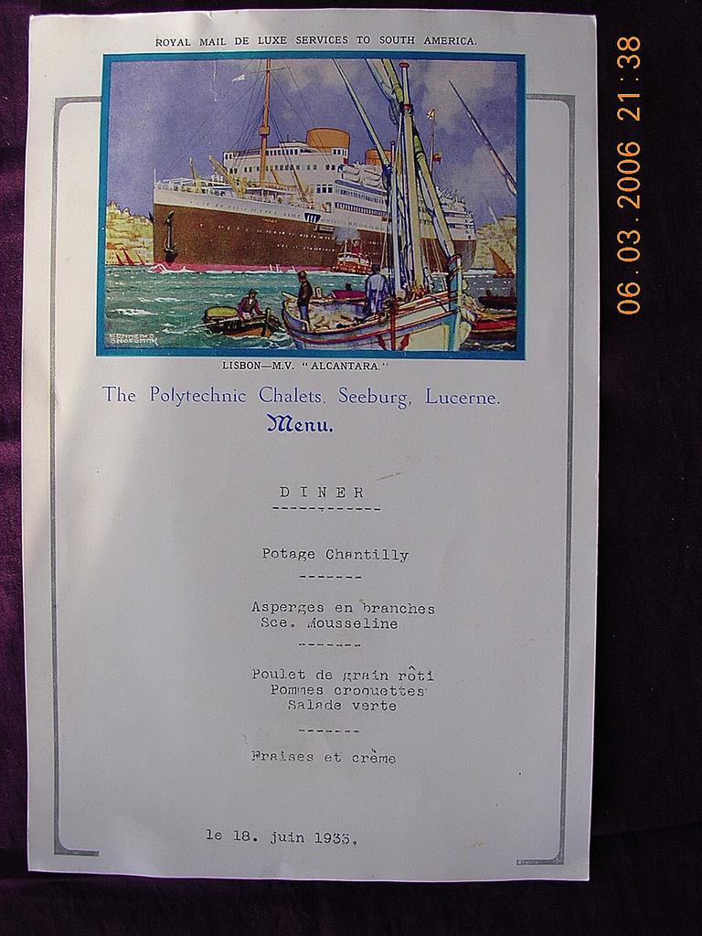 1933 MV Alcantara Dinner Menu Portugese Shipping Line