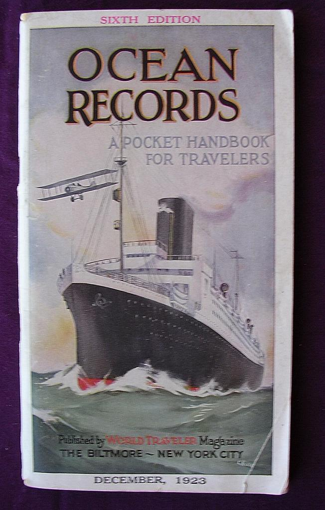 "Vintage Shipping Guide ""Ocean Records"" 1923"