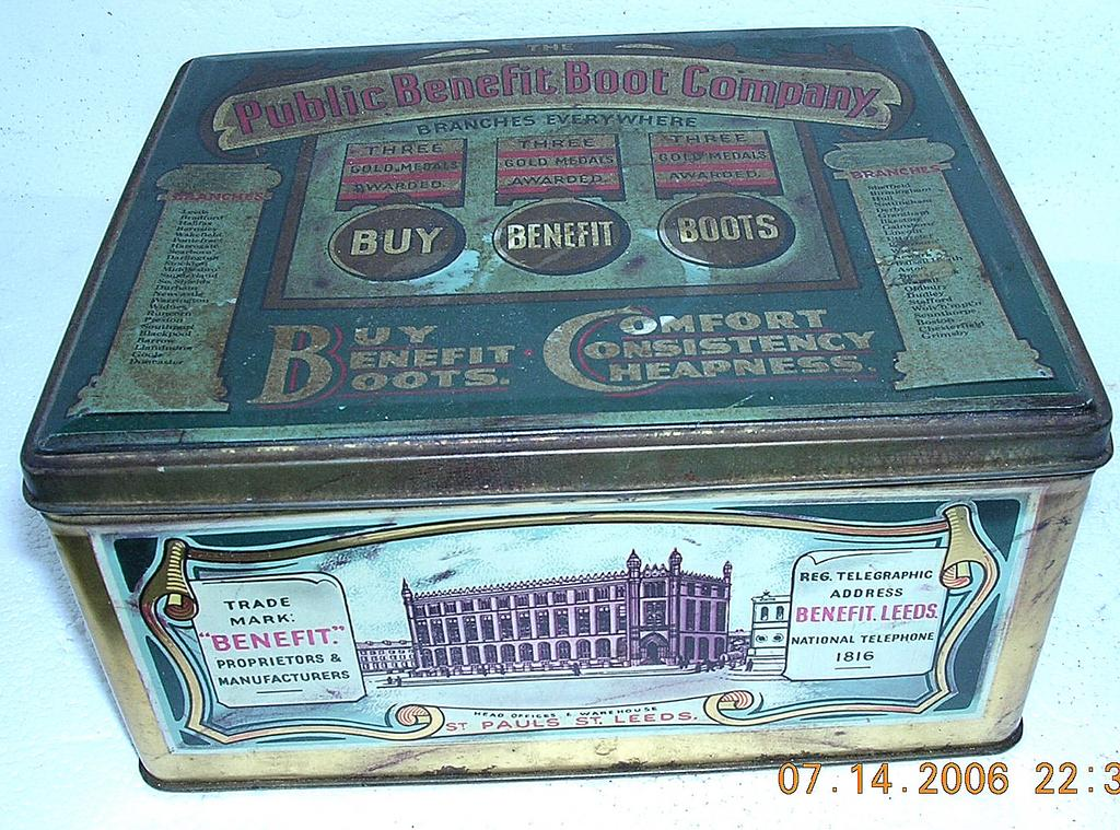 "Vintage Tin ""The Public Benefit Boot Company"""