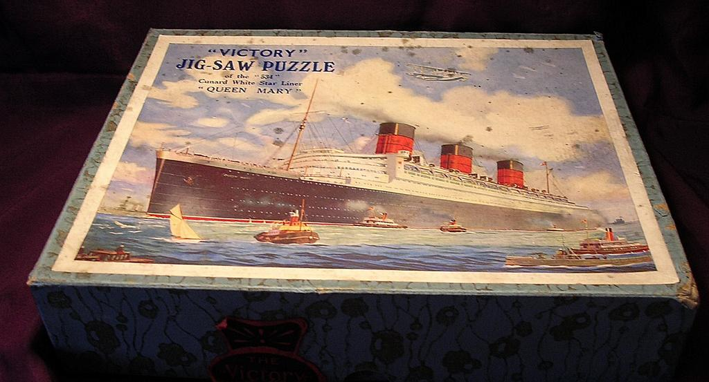 Vintage VICTORY Wooden Jigsaw Cunard Liner QUEEN MARY