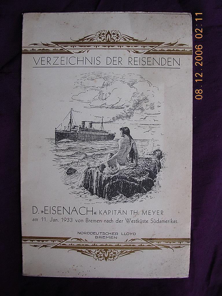 Vintage Ships Menu D.EISENACH, Norddentscher Lloyd Bremen