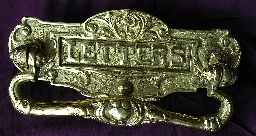 Victorian Ornate Brass Letter Slot with Knocker