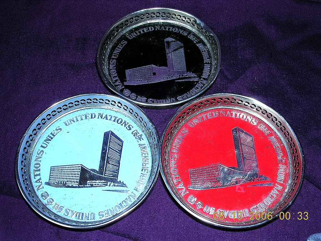 Vintage UNITED NATIONS New York Drink Coasters