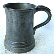 Victorian Pewter Glass Bottom Tankard