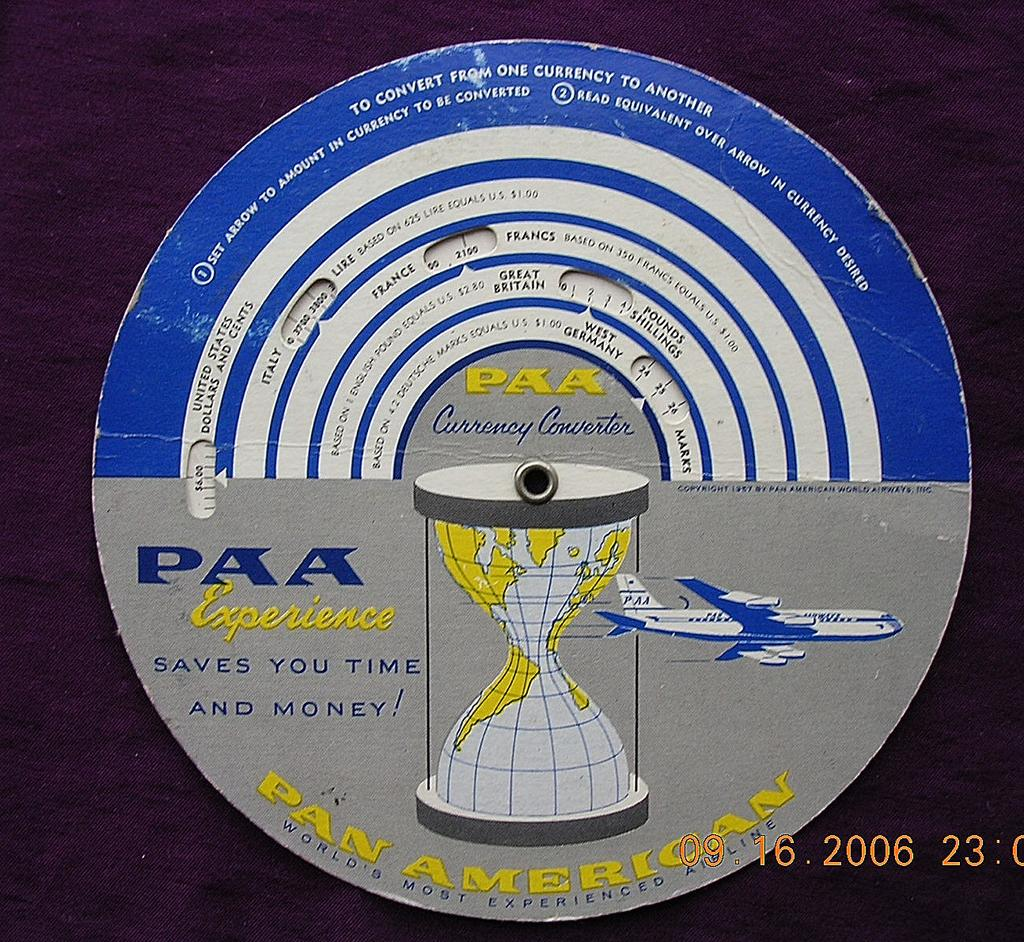 Vintage Pan American Airlines Currency Computer & Time Selector