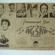 "Vintage 1940's PARAMOUNT MOVIES Jig Saw  ""Maurice Chevalier"""