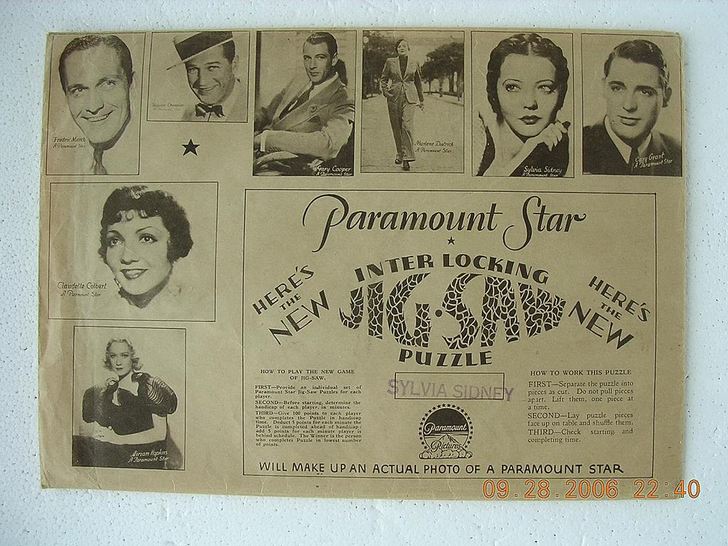 "Vintage 1940's PARAMOUNT MOVIES Jig Saw  ""Maurice Chevalier"""