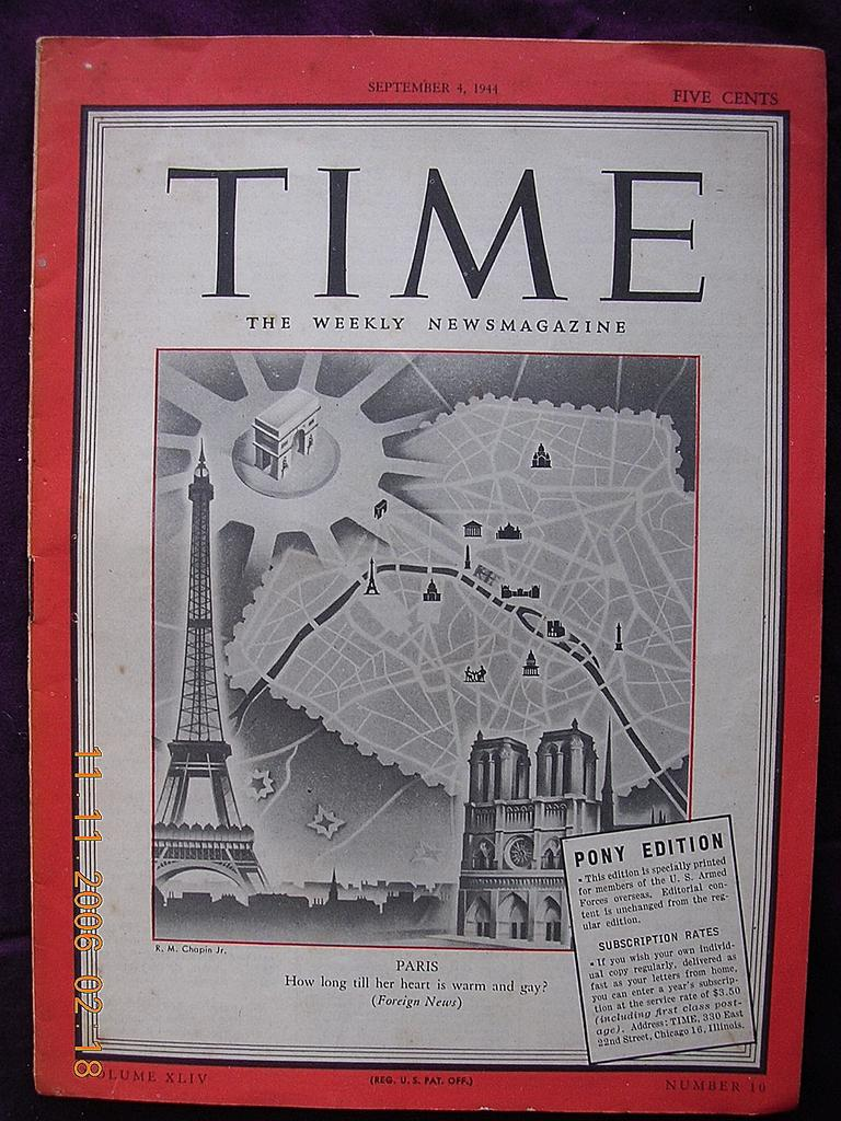 "Vintage TIME Magazine PONY Edition ""PARIS"" September 4th 1944"