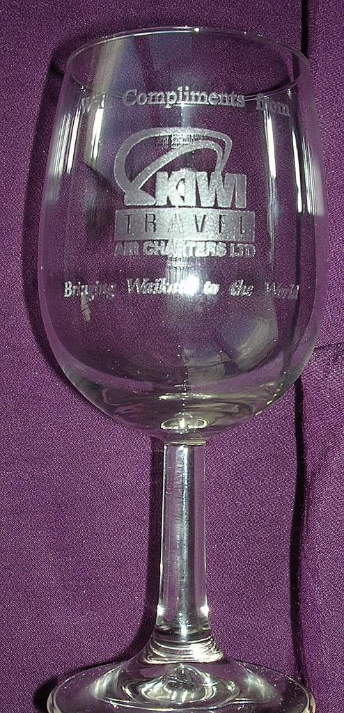 Rare KIWI International Airlines Crystal Wine Glass