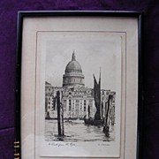 "Vintage Original Charcoal Drawing or Engraving of  ""St. Paul's From The River"" By O. Fletcher"