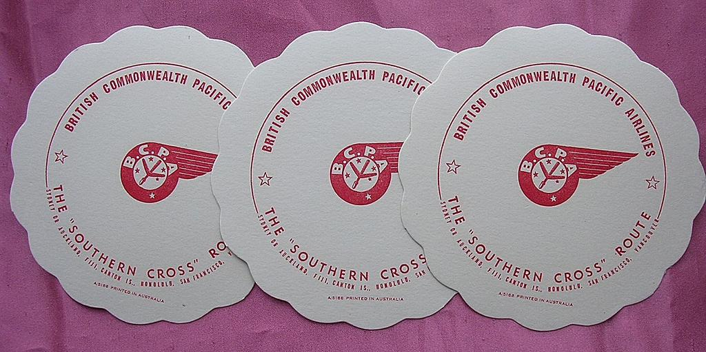 Set of 3 Vintage BCPA Airline Drinks Coasters